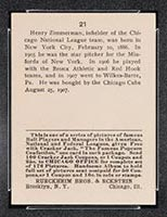 1915 E145-2 Cracker Jack #21 Henry Zimmerman Chicago (National) - Back