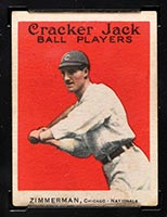 1915 E145-2 Cracker Jack #21 Henry Zimmerman Chicago (National) - Front