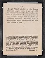 1915 E145-2 Cracker Jack #22 Joe Wood Boston (American) - Back