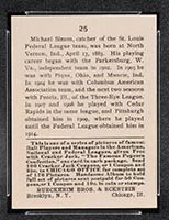 1915 E145-2 Cracker Jack #25 Michael Simon St. Louis (Federal) - Back