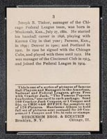 1915 E145-2 Cracker Jack #3 Joe Tinker Chicago (Federal) - Back