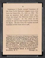 1915 E145-2 Cracker Jack #4 Larry Doyle New York (National) - Back