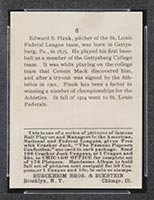 1915 E145-2 Cracker Jack #6 Eddie Plank Philadelphia (American) - Back