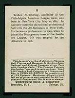 1915 E145-2 Cracker Jack #8 Rube Oldring Philadelphia (American) - Back