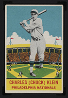 1933 DeLong #22 Charles (Chuck) Klein Philadelphia Nationals - Front