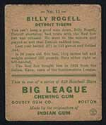 1933 Goudey #11 Billy Rogell Detroit Tigers - Back