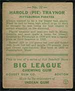 1933 Goudey #22 Harold (Pie) Traynor Pittsburgh Pirates - Back