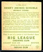 1933 Goudey #4 Henry (Heinie) Schuble Detroit Tigers - Back