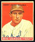 1933 Goudey #4 Henry (Heinie) Schuble Detroit Tigers - Front