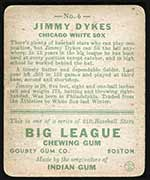1933 Goudey #6 Jimmy Dykes (Age 26) Chicago White Sox - Back