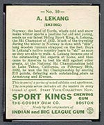 1933 Goudey Sport Kings #10 Anton Lekang Skiing - Back