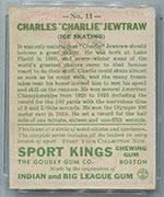 1933 Goudey Sport Kings #11 Charles Jewtraw Ice Skating - Back