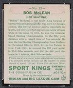 1933 Goudey Sport Kings #12 Bobby McLean Ice Skating - Back