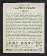 1933 Goudey Sport Kings #13 Laverne Fator Jockey - Back