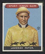 1933 Goudey Sport Kings #13 Laverne Fator Jockey - Front