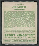 1933 Goudey Sport Kings #14 Jim Londos Wrestling - Back