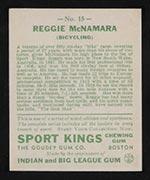 1933 Goudey Sport Kings #15 Reggie McNamara Bicycling - Back