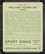 1933 Goudey Sport Kings #16 William Tilden Tennis - Back
