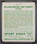 1933 Goudey Sport Kings #17 Jack Dempsey Boxing - Back