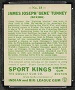 1933 Goudey Sport Kings #18 Gene Tunney Boxing - Back