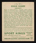1933 Goudey Sport Kings #19 Eddie Shore Hockey - Back