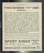 1933 Goudey Sport Kings #1 Ty Cobb Baseball - Back