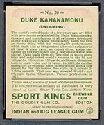 1933 Goudey Sport Kings #20 Duke Kahanamoku Swimming - Back