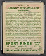 1933 Goudey Sport Kings #21 Johnny Weissmuller Swimming - Back