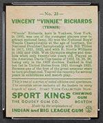 1933 Goudey Sport Kings #23 Vincent Richards Tennis - Back