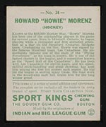 1933 Goudey Sport Kings #24 Howie Morenz Hockey - Back