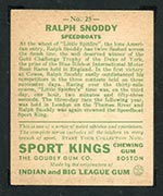 1933 Goudey Sport Kings #25 Ralph Snoddy Speedboats - Back