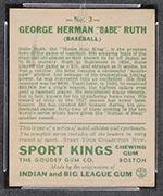 1933 Goudey Sport Kings #2 Babe Ruth Baseball - Back