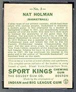 1933 Goudey Sport Kings #3 Nat Holman Basketball - Back