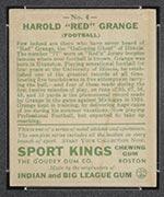 """1933 Goudey Sport Kings #4 """"Red"""" Grange Football - Back"""