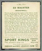 1933 Goudey Sport Kings #5 Ed Wachter Basketball - Back