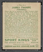 1933 Goudey Sport Kings #6 Jim Thorpe Football - Back