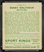 1933 Goudey Sport Kings #7 Bobby Walthour, Sr. Bicycling - Back