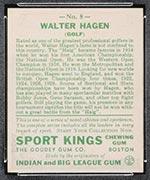 1933 Goudey Sport Kings #8 Walter Hagen Golf - Back