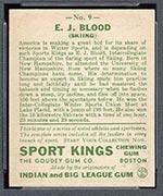 1933 Goudey Sport Kings #9 Ed Blood Skiing - Back