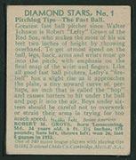 "1934-1936 R327 Diamond Stars #1 ""Lefty"" Grove (1934) Boston Red Sox - Back"