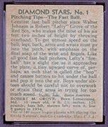"1934-1936 R327 Diamond Stars #1 ""Lefty"" Grove (1935) Boston Red Sox - Back"