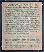 1934-1936 R327 Diamond Stars #2 Al Simmons (1935) Chicago White Sox - Back