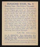 1934-1936 R327 Diamond Stars #2 Al Simmons (1936) Detroit Tigers - Back