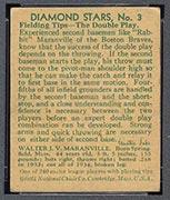 "1934-1936 R327 Diamond Stars #3 ""Rabbit"" Maranville (1935) Boston Braves - Back"