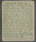 "1934-1936 R327 Diamond Stars #4 ""Buddy"" Myer (1934) Washington Senators - Back"