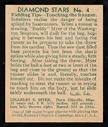"1934-1936 R327 Diamond Stars #4 ""Buddy"" Myer (1935) Washington Senators - Back"