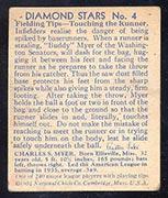 "1934-1936 R327 Diamond Stars #4 ""Buddy"" Myer (1936) Washington Senators - Back"