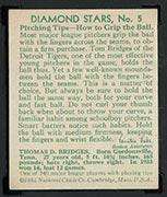 1934-1936 R327 Diamond Stars #5 Tom Bridges (1934) Detroit Tigers - Back