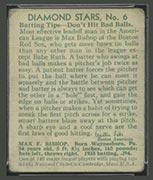 1934-1936 R327 Diamond Stars #6 Max Bishop (1934) Boston Red Sox - Back