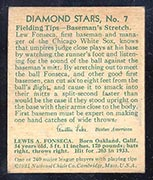 1934-1936 R327 Diamond Stars #7 Lew Fonseca (1934, 34 years old) Chicago White Sox - Back